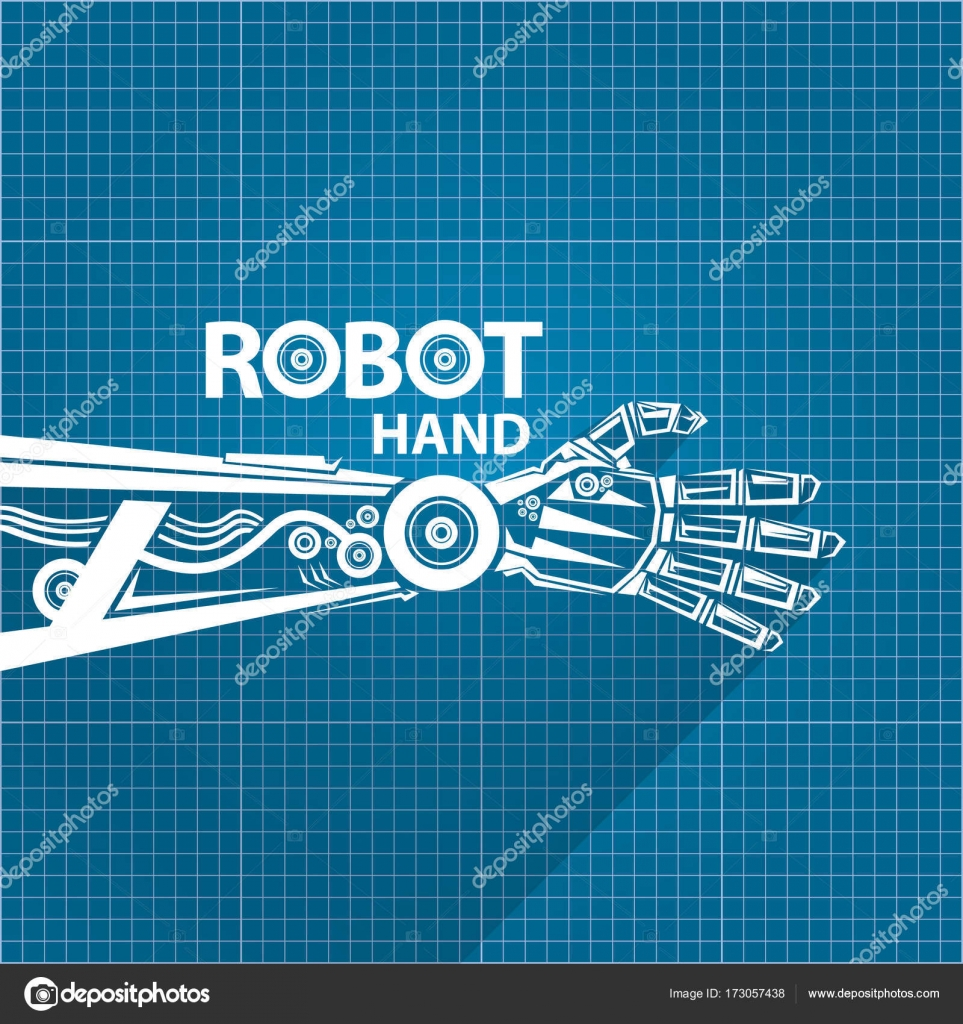Vector robotic arm symbol on blueprint paper background robot hand vector robotic arm symbol on blueprint paper background robot hand technology background design template vector by zm1ter malvernweather Choice Image