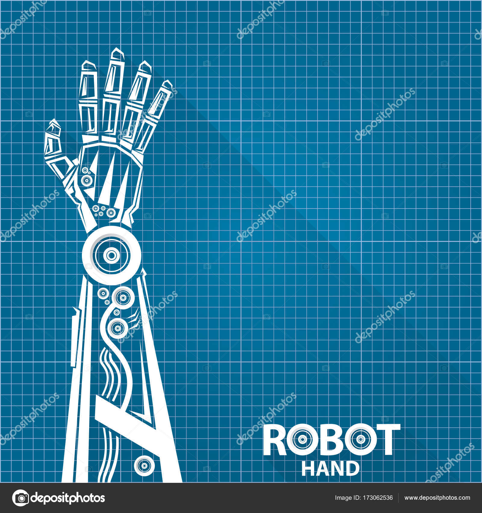 Vector robotic arm symbol on blueprint paper background robot hand vector robotic arm symbol on blueprint paper background robot hand technology background design template vector by zm1ter find similar images malvernweather Images