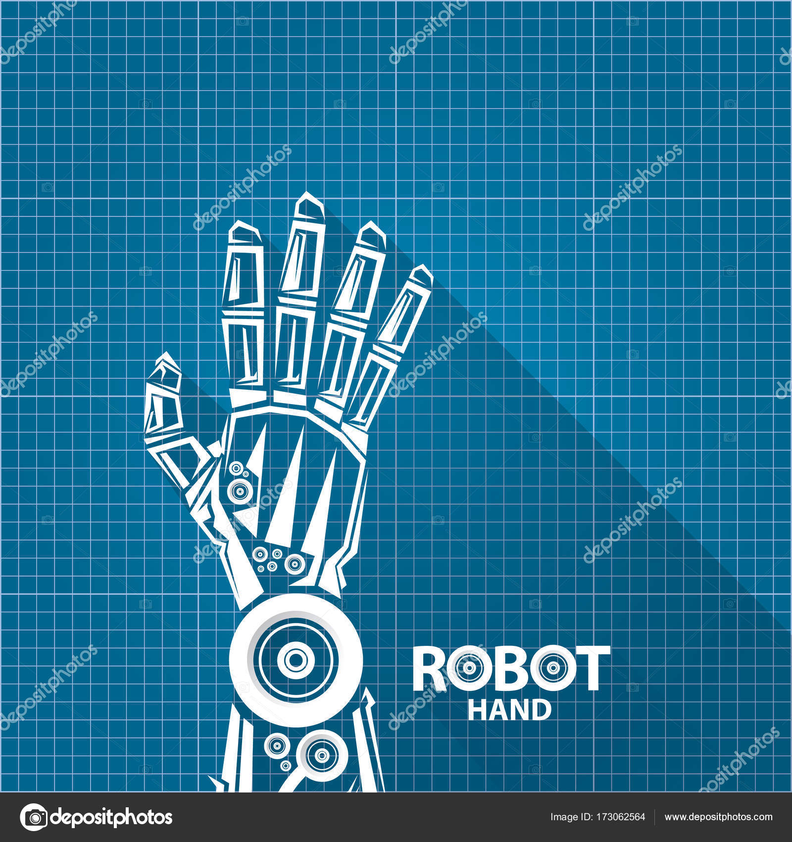 Vector robotic arm symbol on blueprint paper background robot hand vector robotic arm symbol on blueprint paper background robot hand technology background design template vector by zm1ter malvernweather Image collections