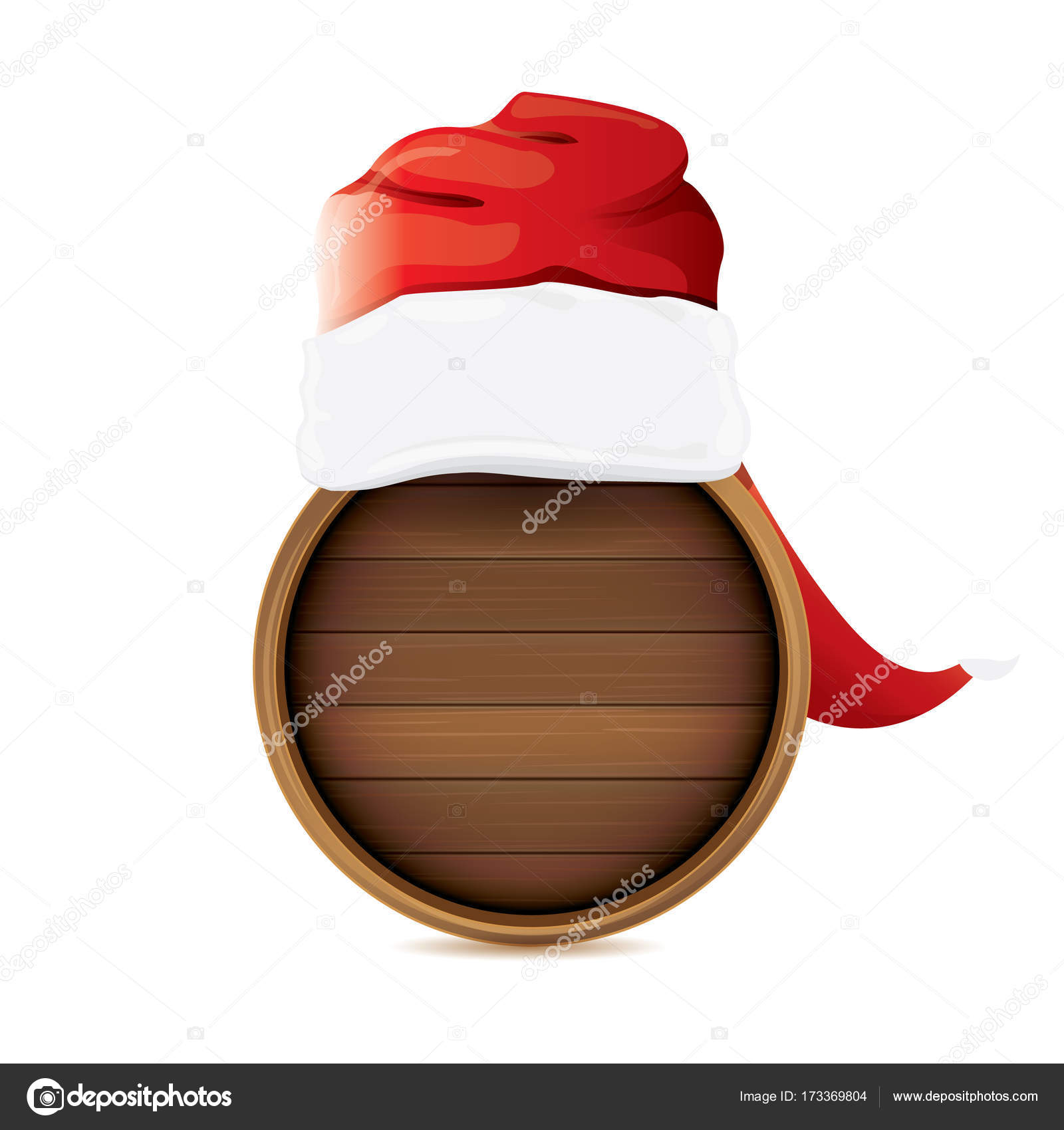 vector red Santa hat with circle wooden board sign isolated on white ...