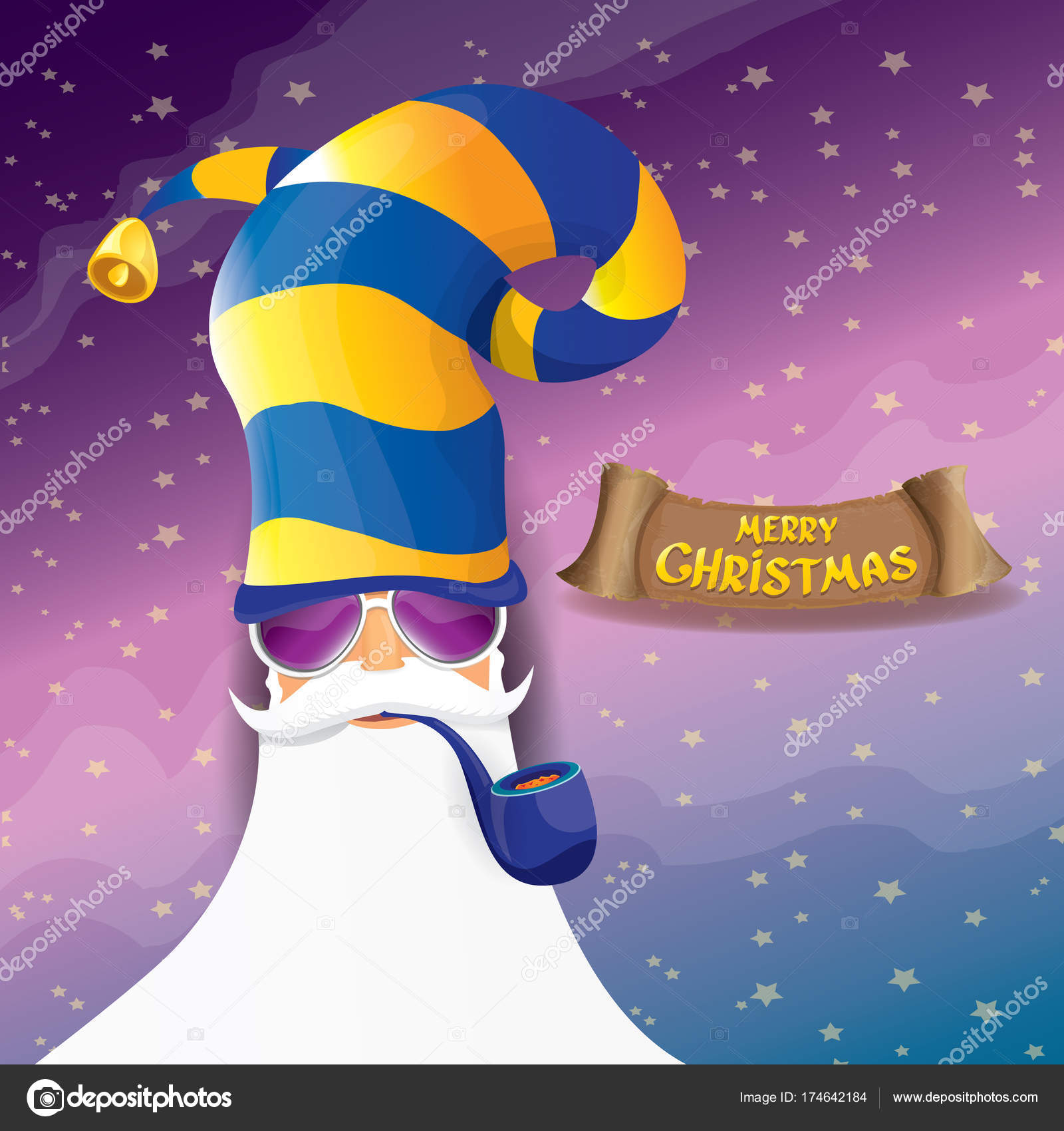 Vektor Rock \' n roll Santa Claus mit Pfeife, funky Bart und ...