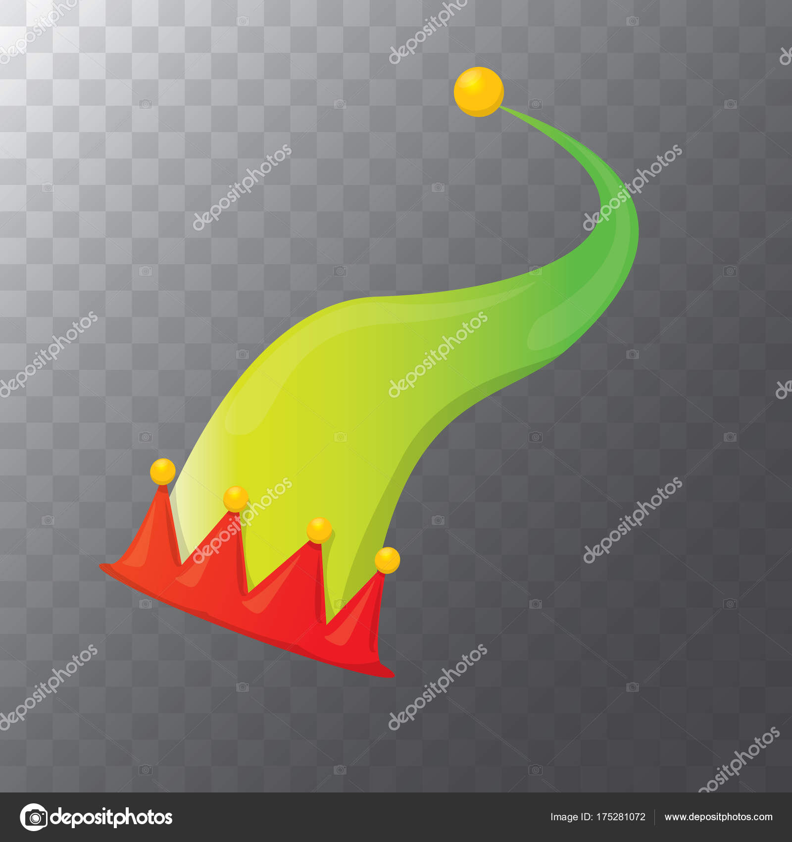 702bdaa9c7744 Vector funky red and green stripped cartoon christmas elf hat isolated on  transparent background. vector