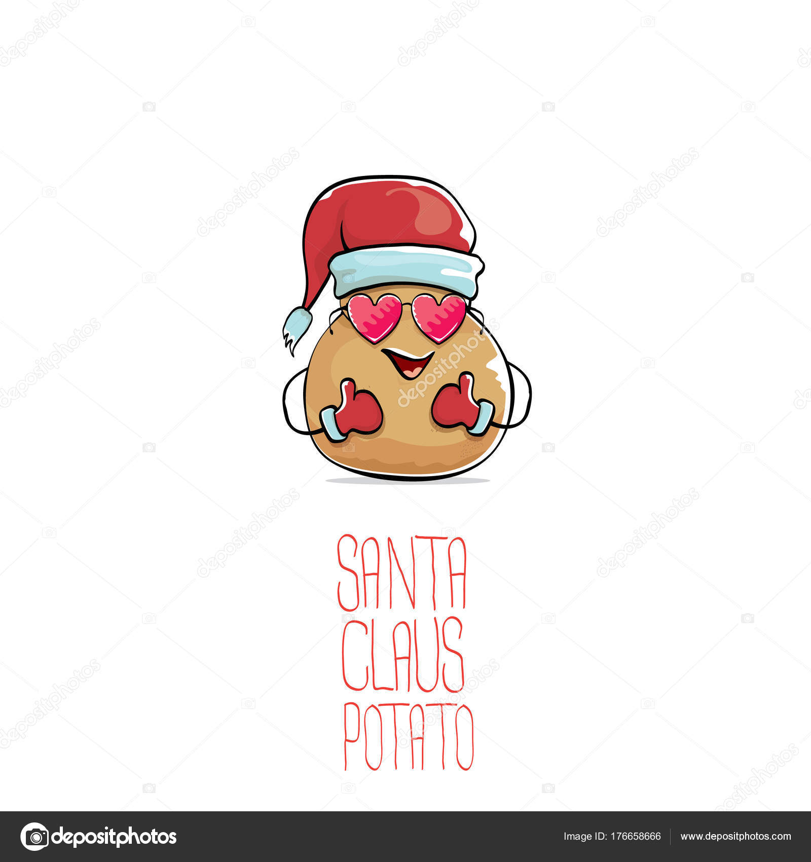 Vector funky cartoon comic lindo marrón sonriente Noel Papa con ...