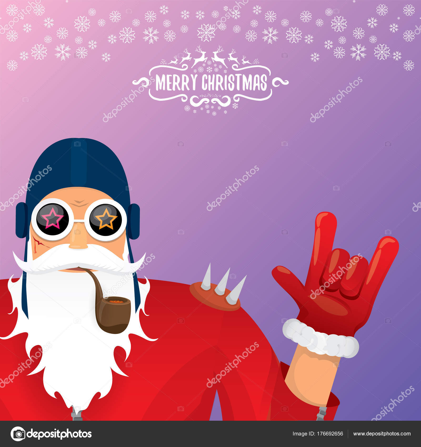 Vektor-Dj Rock \' n roll Santa Claus mit Pfeife, Santa Bart und funky ...