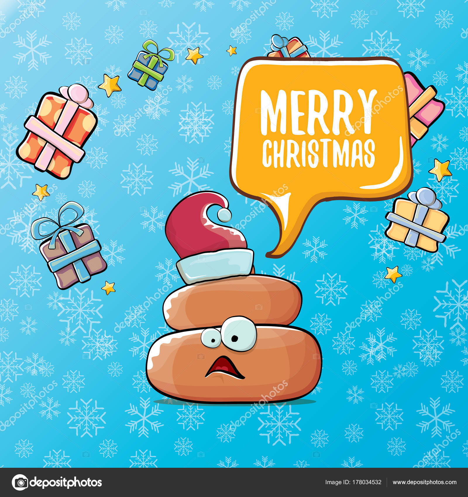 vector funny cartoon cool cute brown smiling poo icon with santa red ...