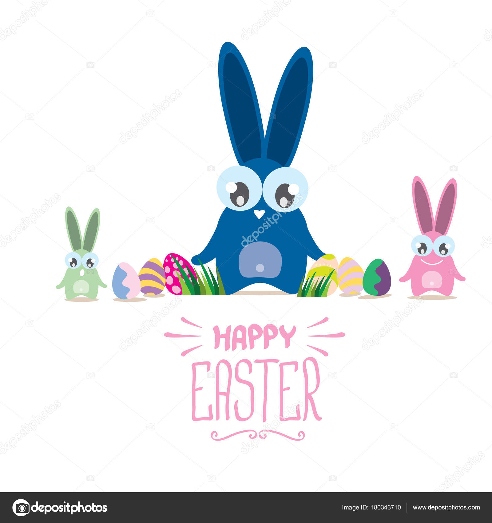 Vector happy easter greeting card with color eggs funny easter vector happy easter greeting card with color eggs funny easter bunny and hand drawn text kristyandbryce Choice Image