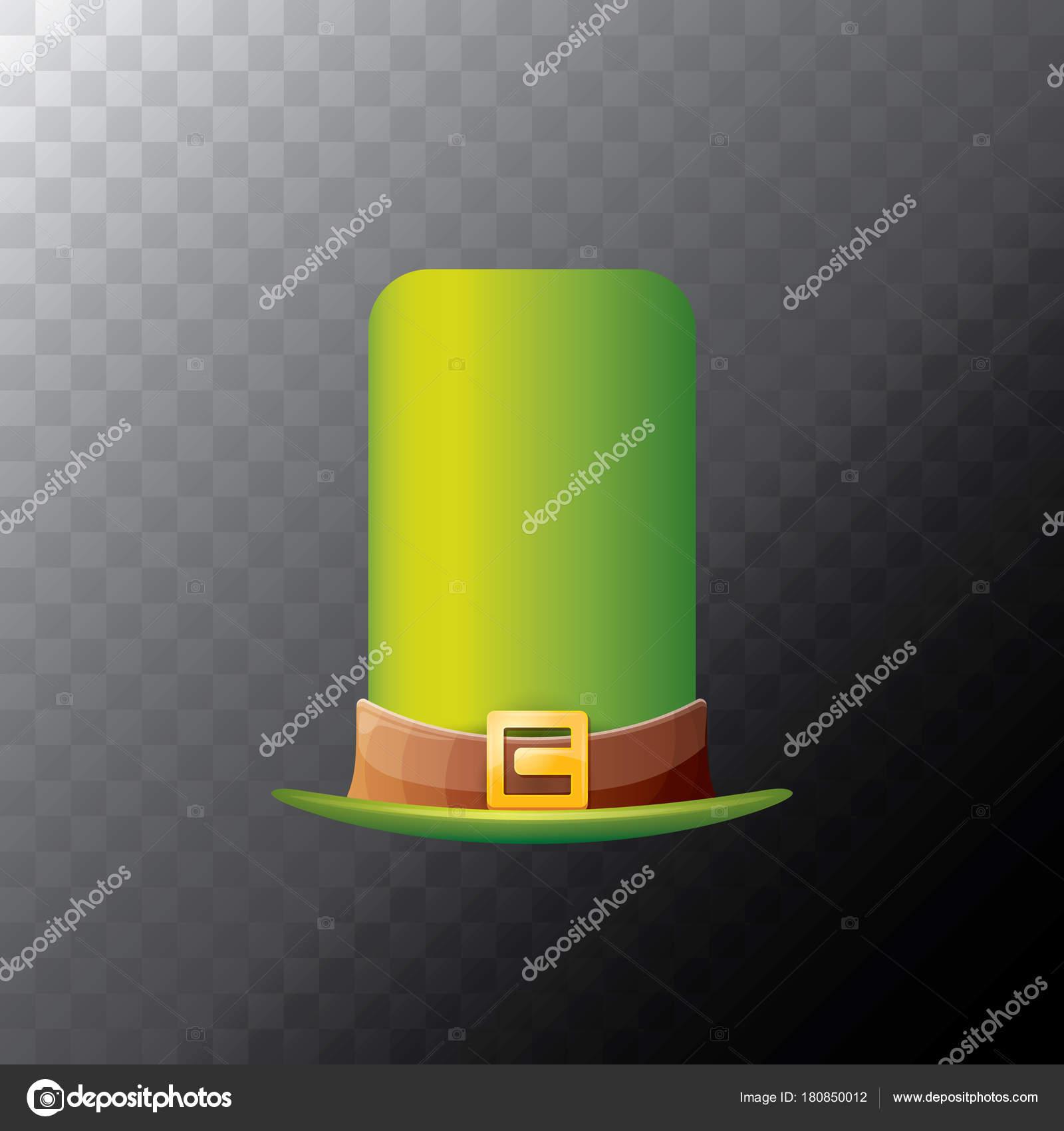 Trébol de sombrero verde brillante de la día de San Patricio aislado sobre  fondo transparente de vector. sombrero de la historieta de vector vintage  duende ... c779ac1b297