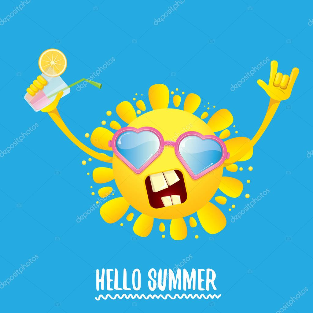 hello summer rock n roll vector label or logo. summer cocktail party poster background with funky smiling sun character