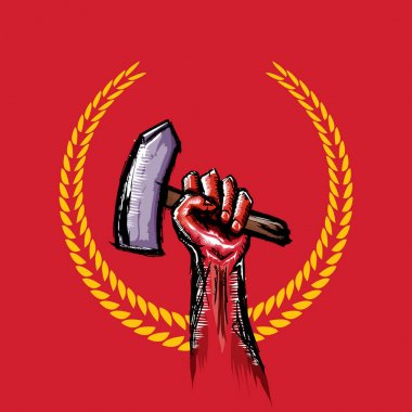 Vector red protest fist holding hammer isolated on red background. 1 may Labor day concept illustration with hand drawn doodle fist with claw hammer