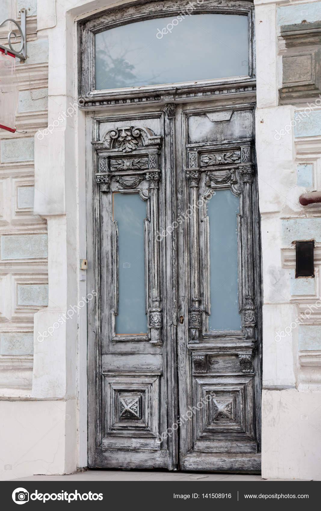 Puerta Gris Vintage Antigua Puerta De Dos Hojas Vintage Gris