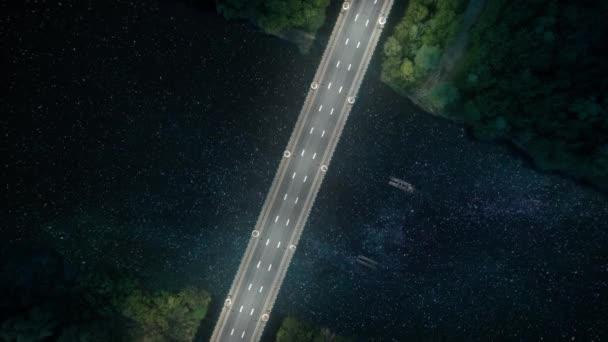 Noční čas hvězdy ve městě s mostem a řekou, top-bottom drone pohled