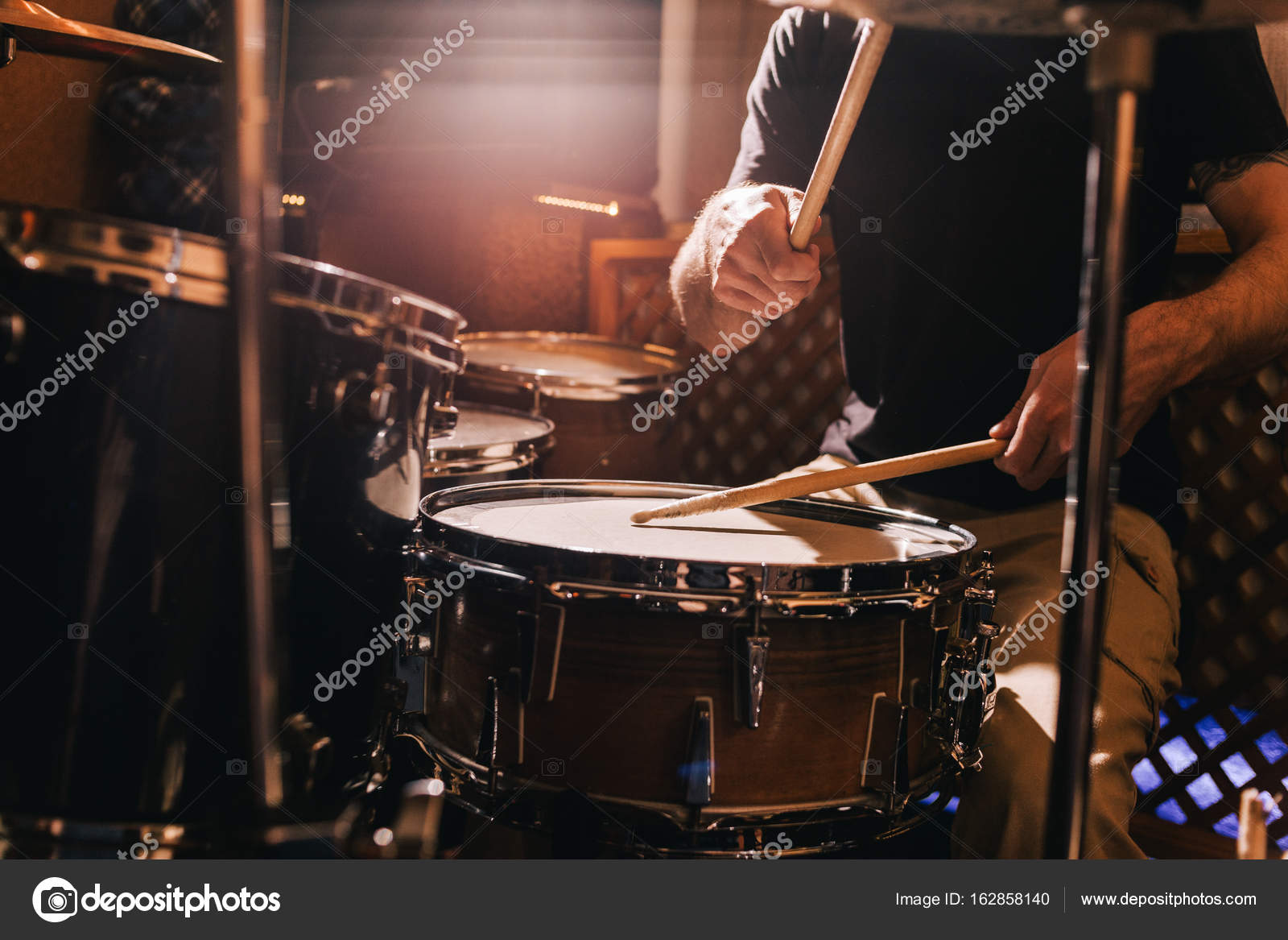 professional drum set closeup drummer with drums stock photo