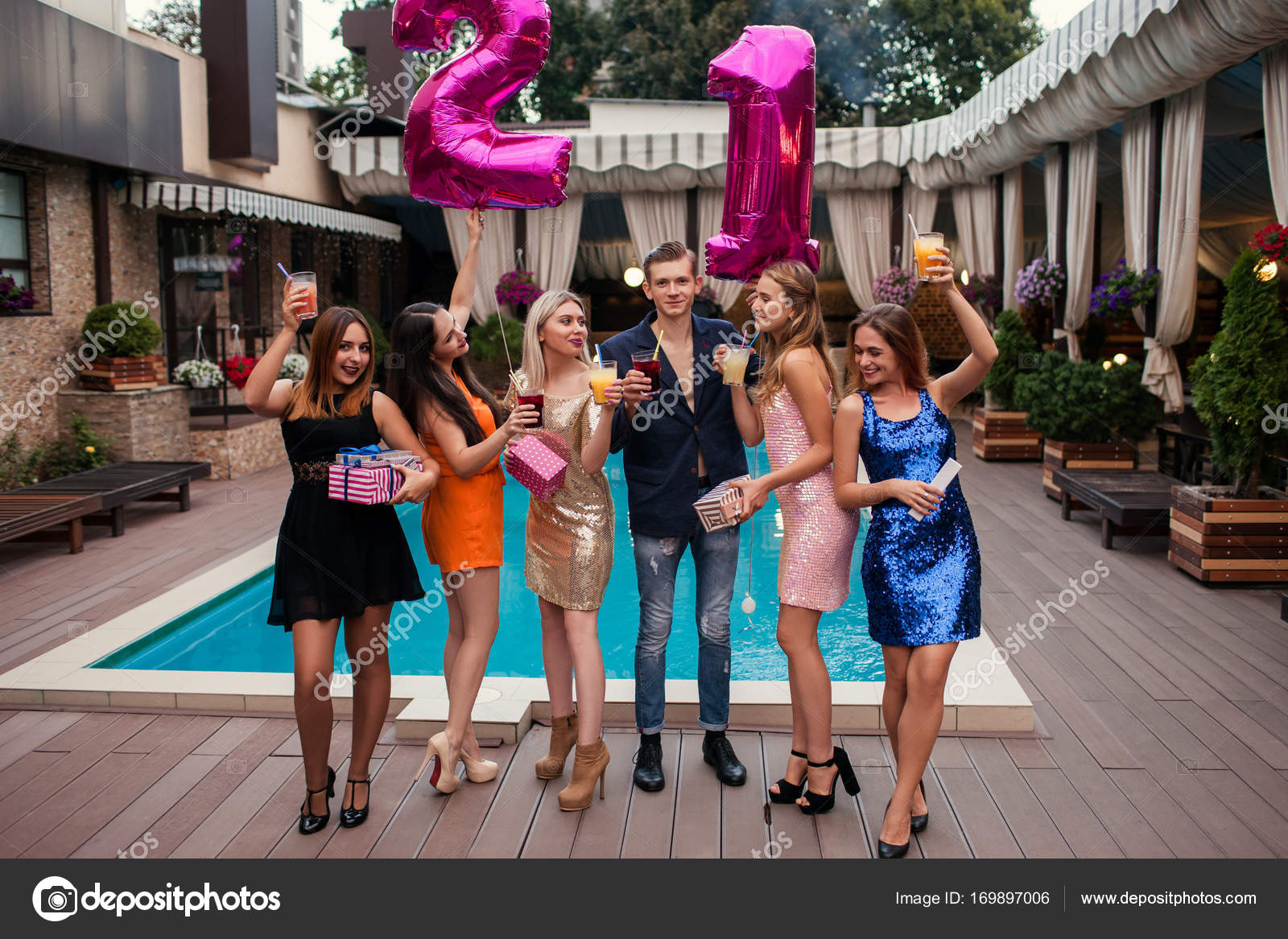 pool party for 21st birthday happy youth stock photo