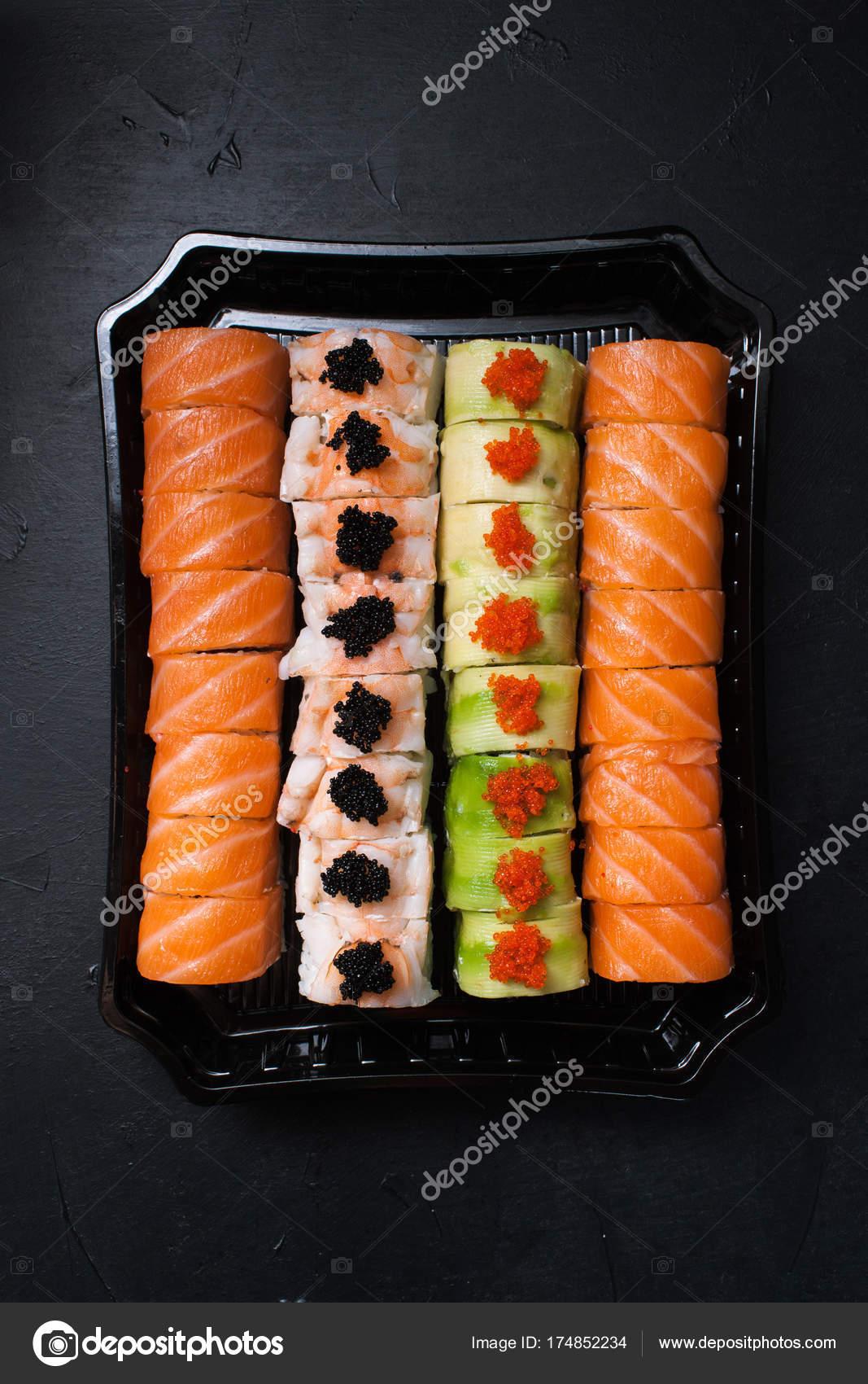 Essen Foto Sushi-Rollen japanische Küche Konzept — Stockfoto ...