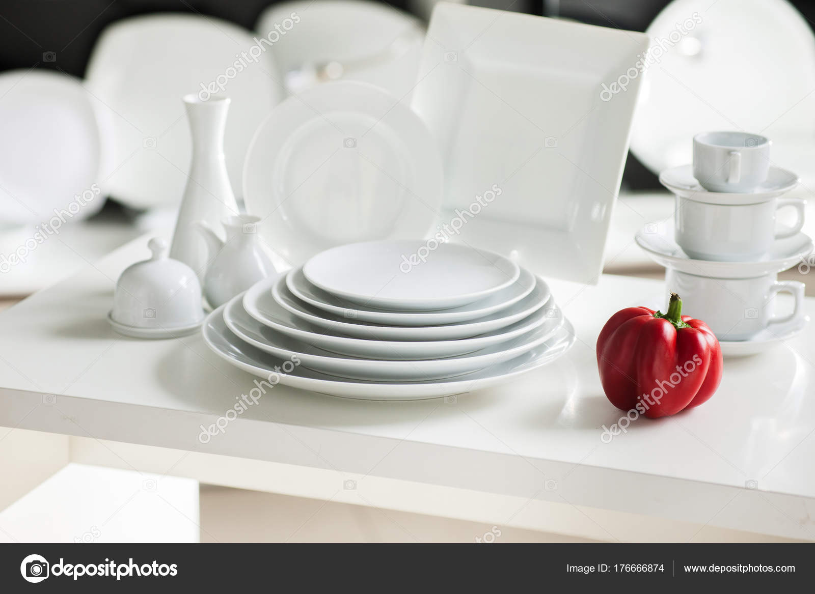Hotel restaurant white dishes assortment. Stylish crockery set. Luxury and sophistication concept u2014 Photo by golubovystock & white tableware stylish luxury crockery u2014 Stock Photo ...
