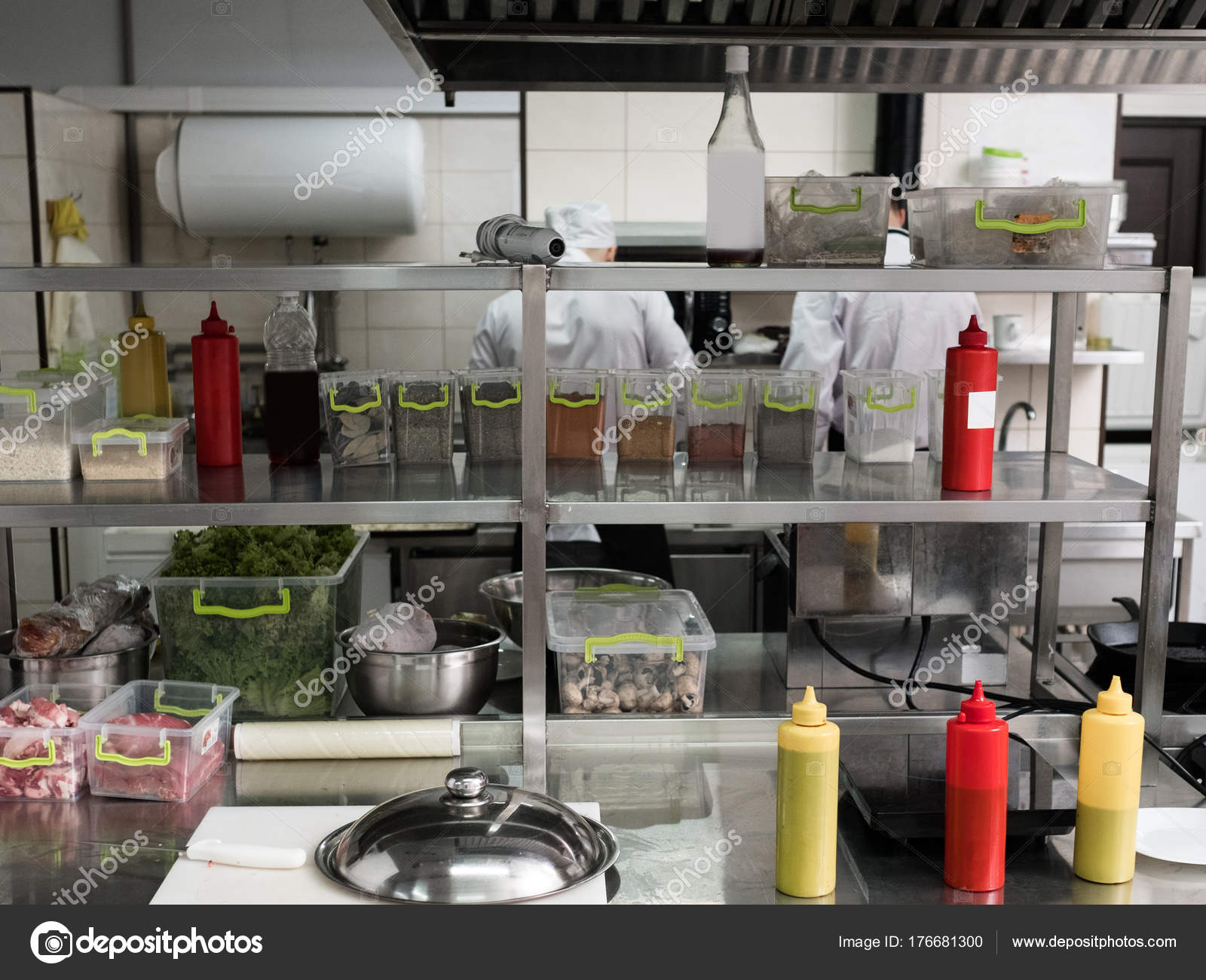 Restaurant Kitchen Interior Workspace Clean Tidy U2014 Stock Photo