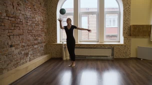 sport gymnastics calisthenics ball exercise girl