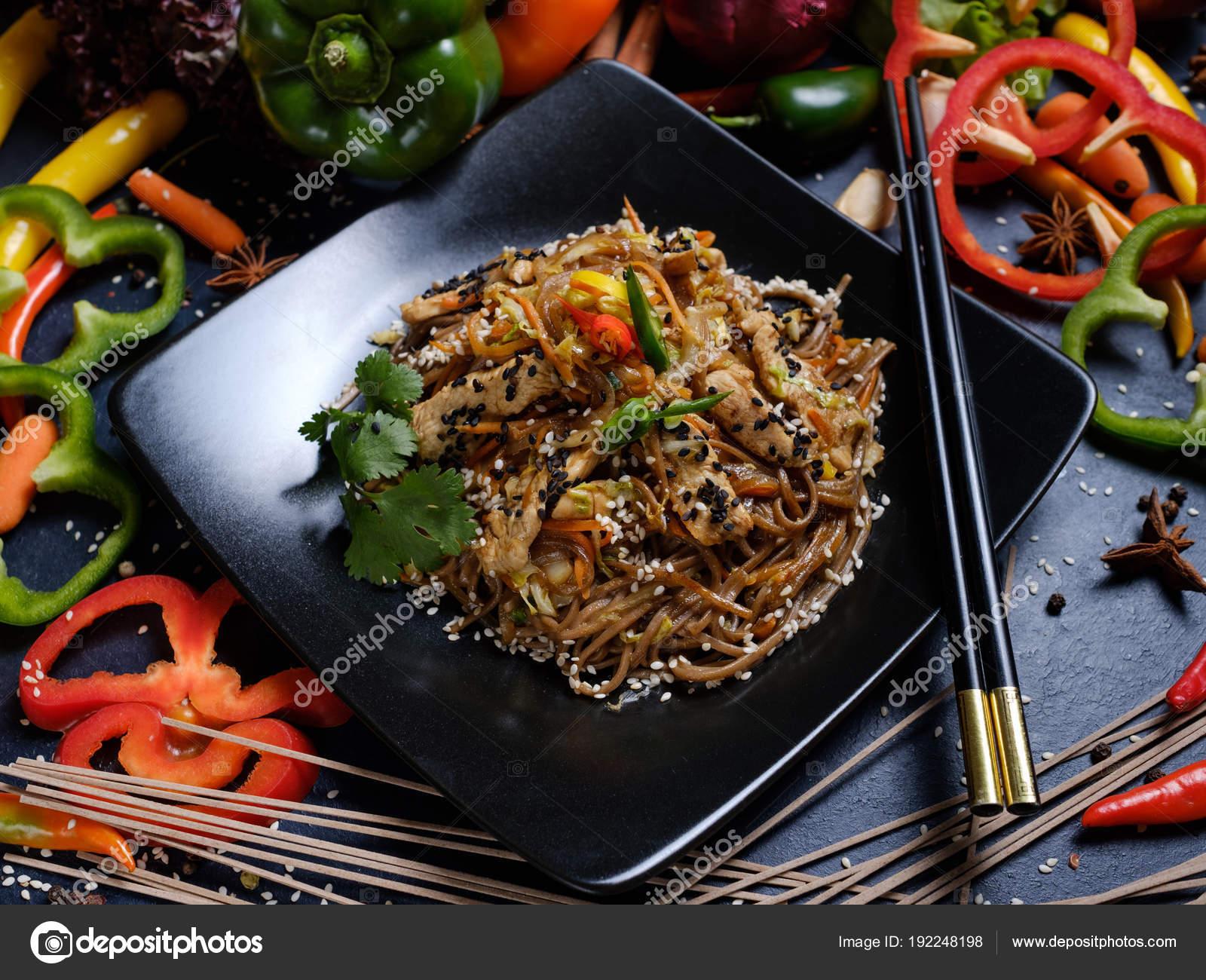 Fideos De Receta Comida Cocina Cocina Asiática U2014 Foto De Stock