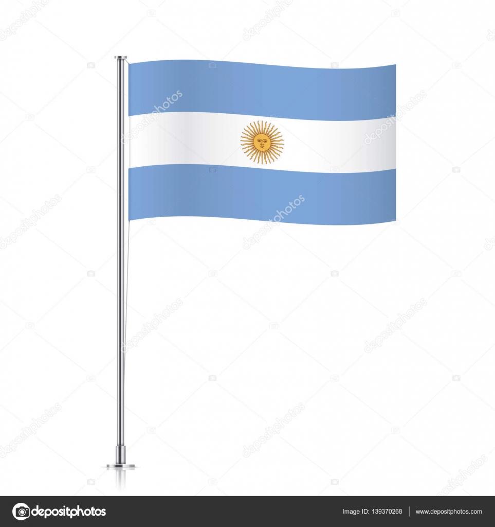 Bandeira Da Argentina Acenando Em Um Poste Metálico