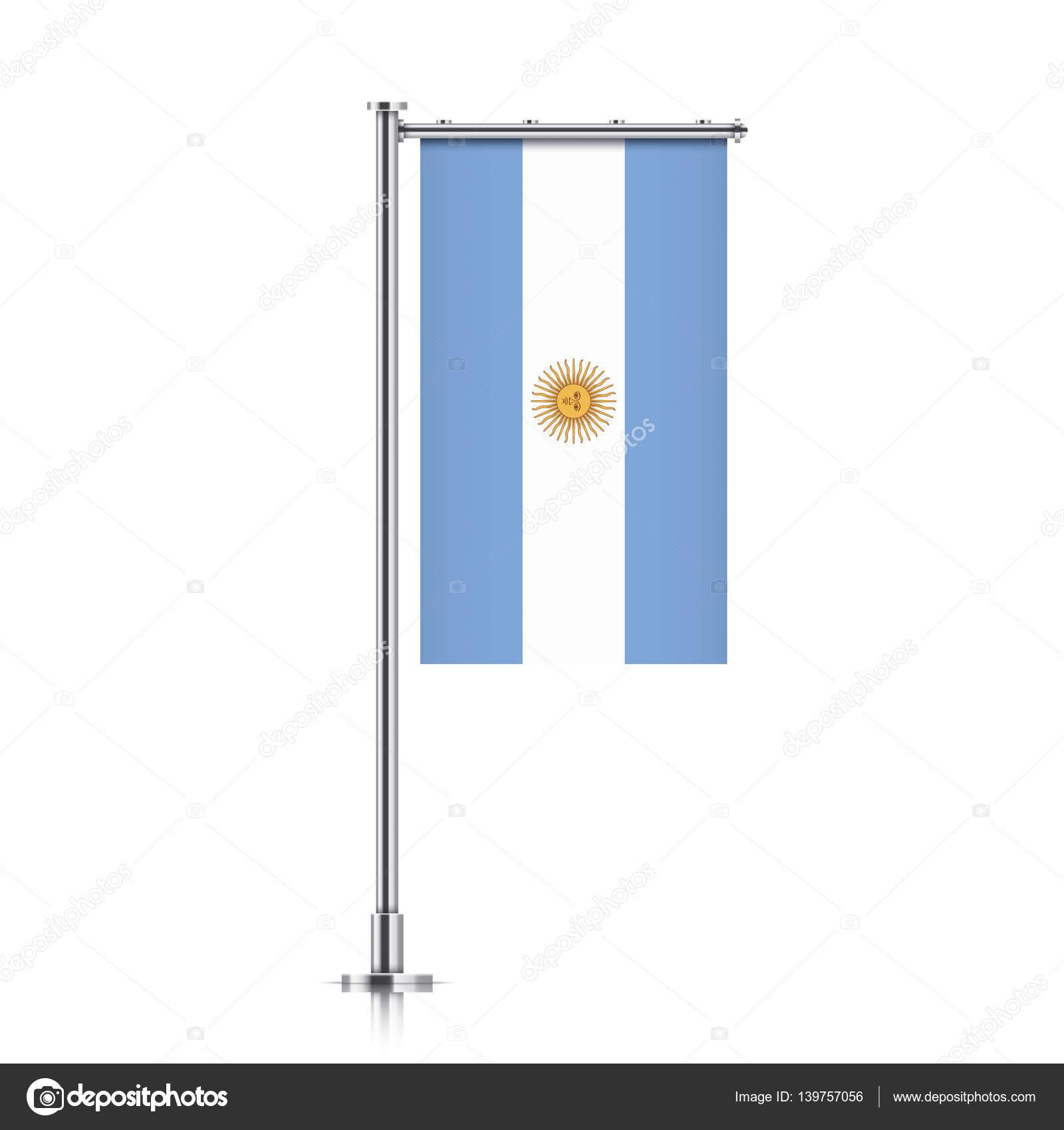 Bandeira Da Argentina Pendurado Em Um Poste Vetor De