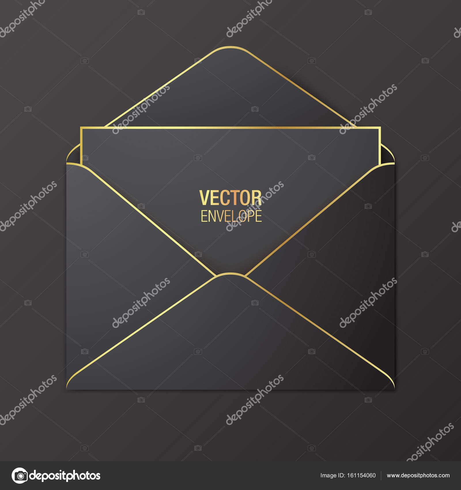 Schwarzen Vektor Briefumschlag Vorlage Stockvektor Topicha