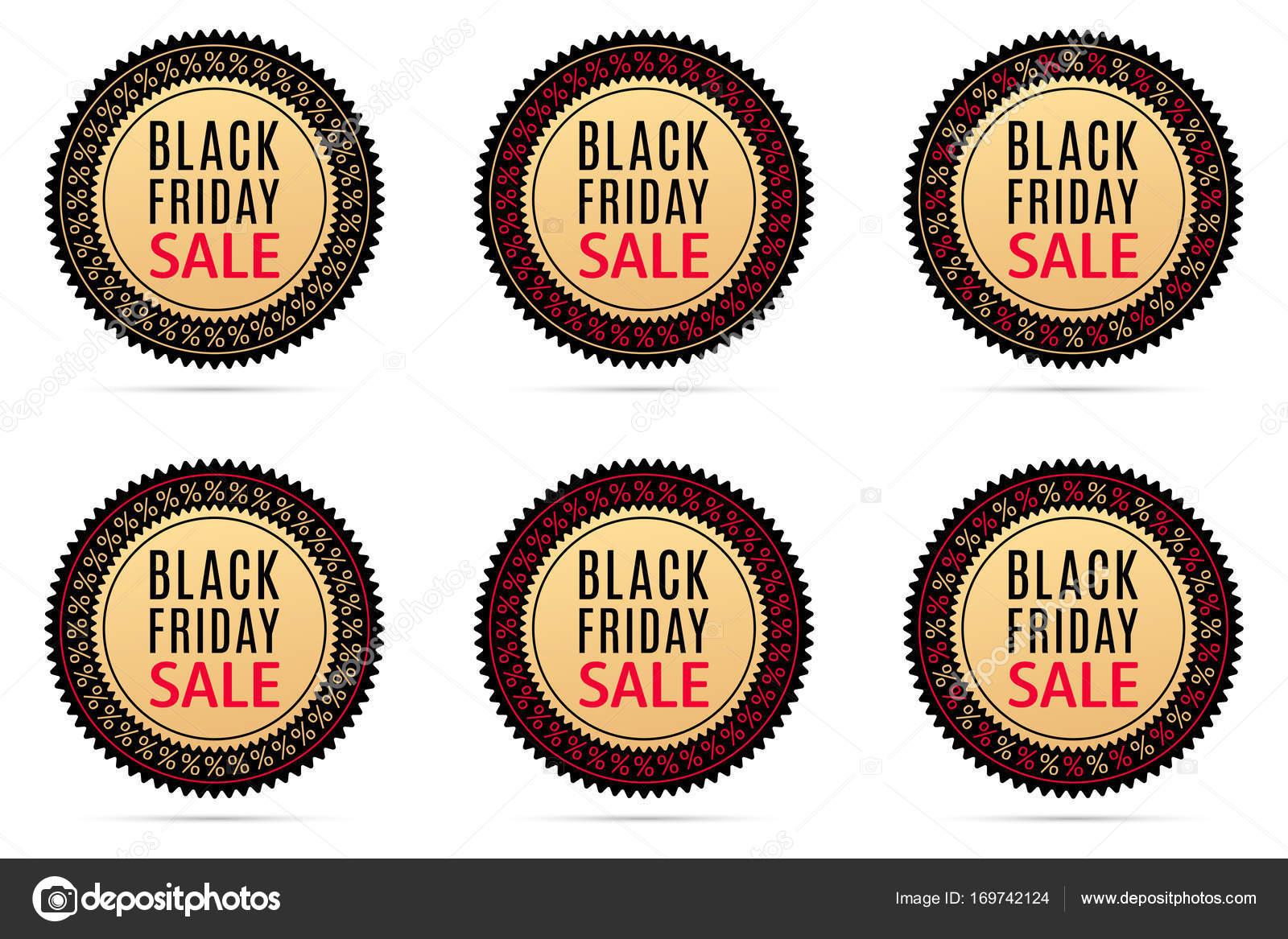 Black Friday Sale Runde Aufkleber Mit Werbung Der Schwarze