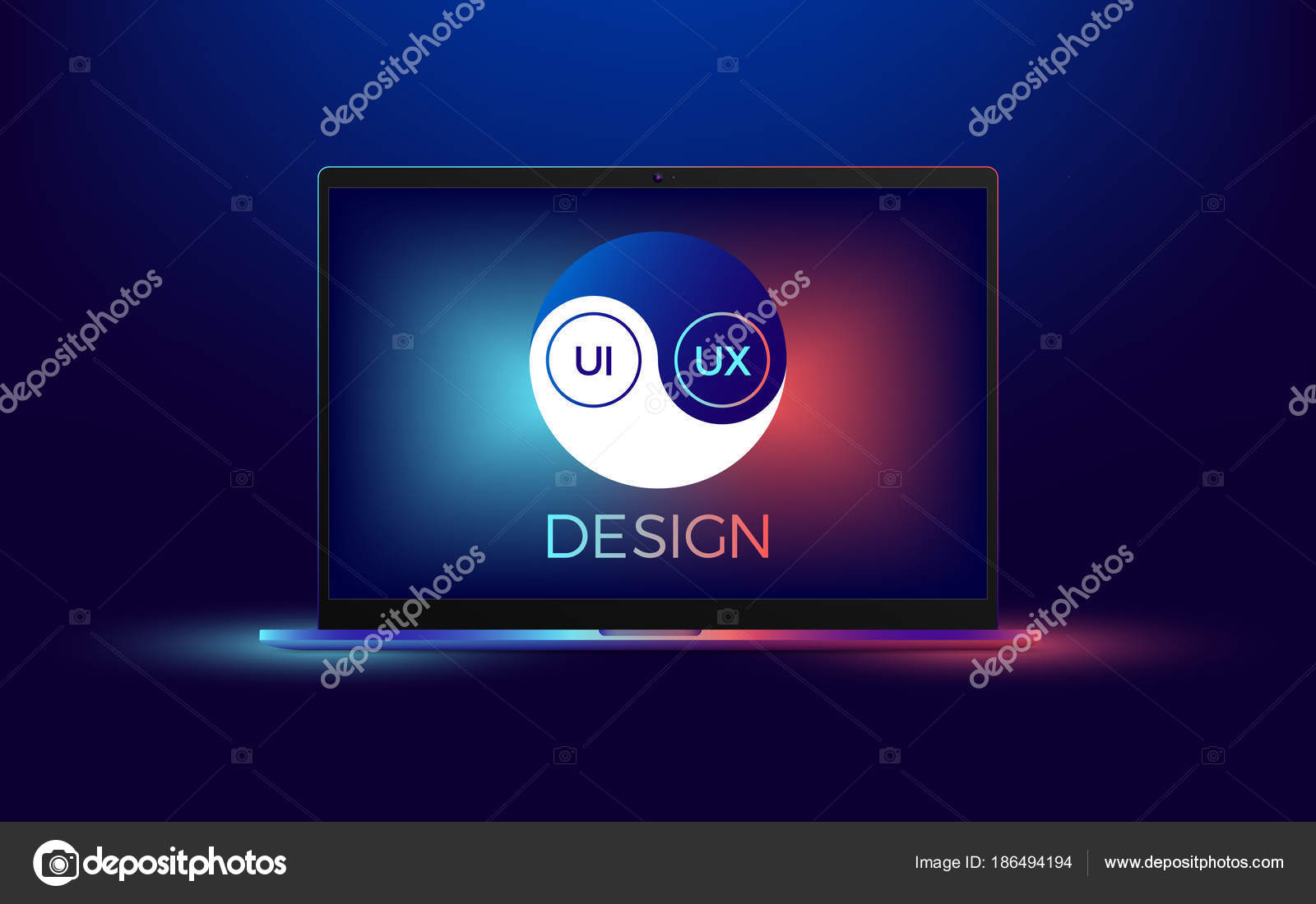 Vector Laptop With Ui And Ux Yin Yang Stock Vector Artskill2k17