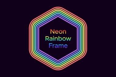 Neon hexagon frame in rainbow color