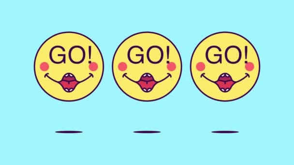 3 jumping emoji faces with phrase Go. Emoticon with text Go. Cartoon looped animation, emotional motion graphic for social media communication