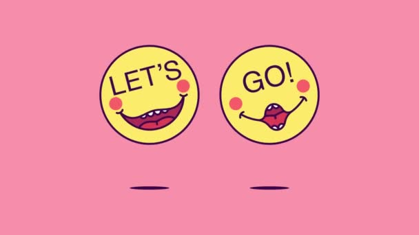 2 jumping emoji faces with phrase Lets Go. Emoticon with text Lets Go. Cartoon looped animation, emotional motion graphic for social media communication