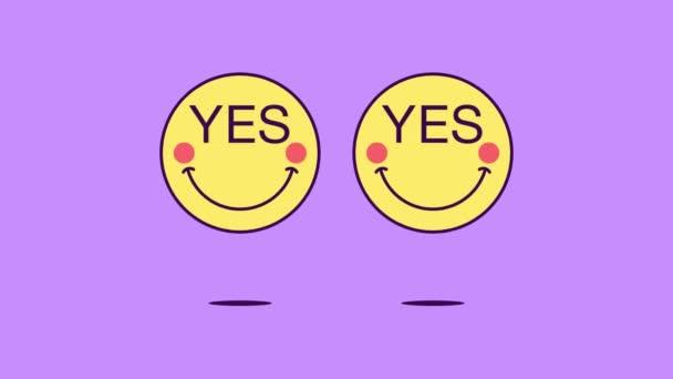 2 skákající emoji tváře s rotací a frází Ano. Pozitivní emotikon s textem Ano. Cartoon looped animation, emotivní pohybová grafika pro komunikaci se sociálními médii