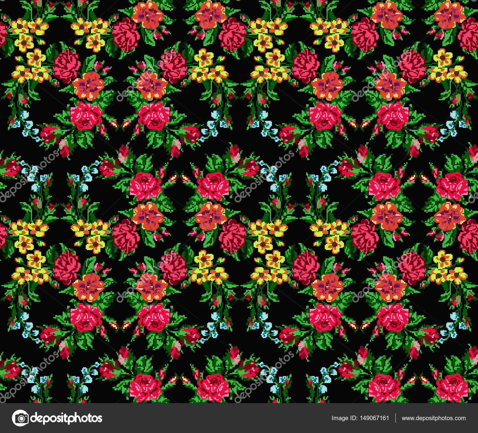 Color bouquet of flowers . Seamless pattern. — Stock Photo © YIK2007 ...