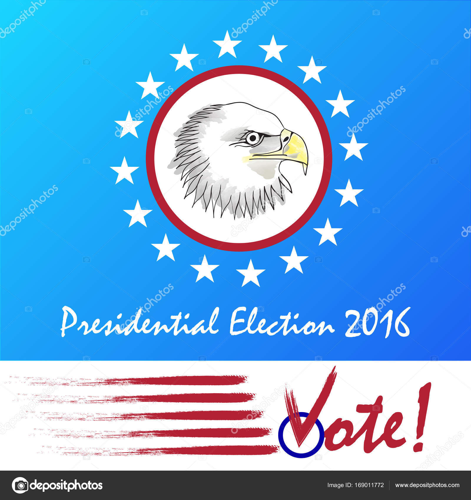 Vote Presidential Election Bald Eagle As The Symbol Of Usa Stock