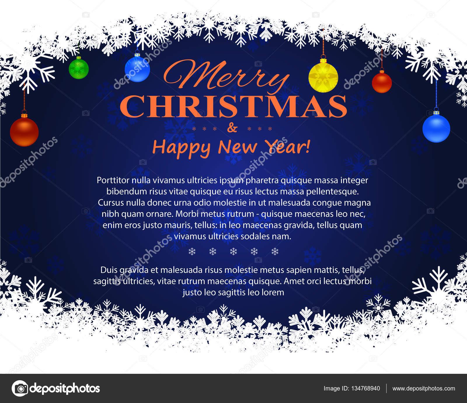 Kerst Folder Met Decoratieve Elementen Op Een Donkere Achtergrond
