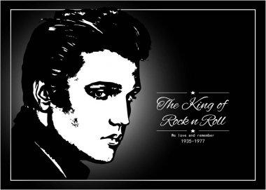 Elvis Presley, vector portrait on a dark background.