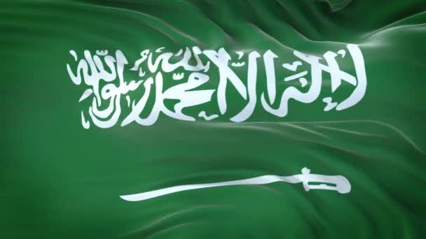 Saudi Arabia flag waving in the wind with highly detailed fabric texture. Seamless loop