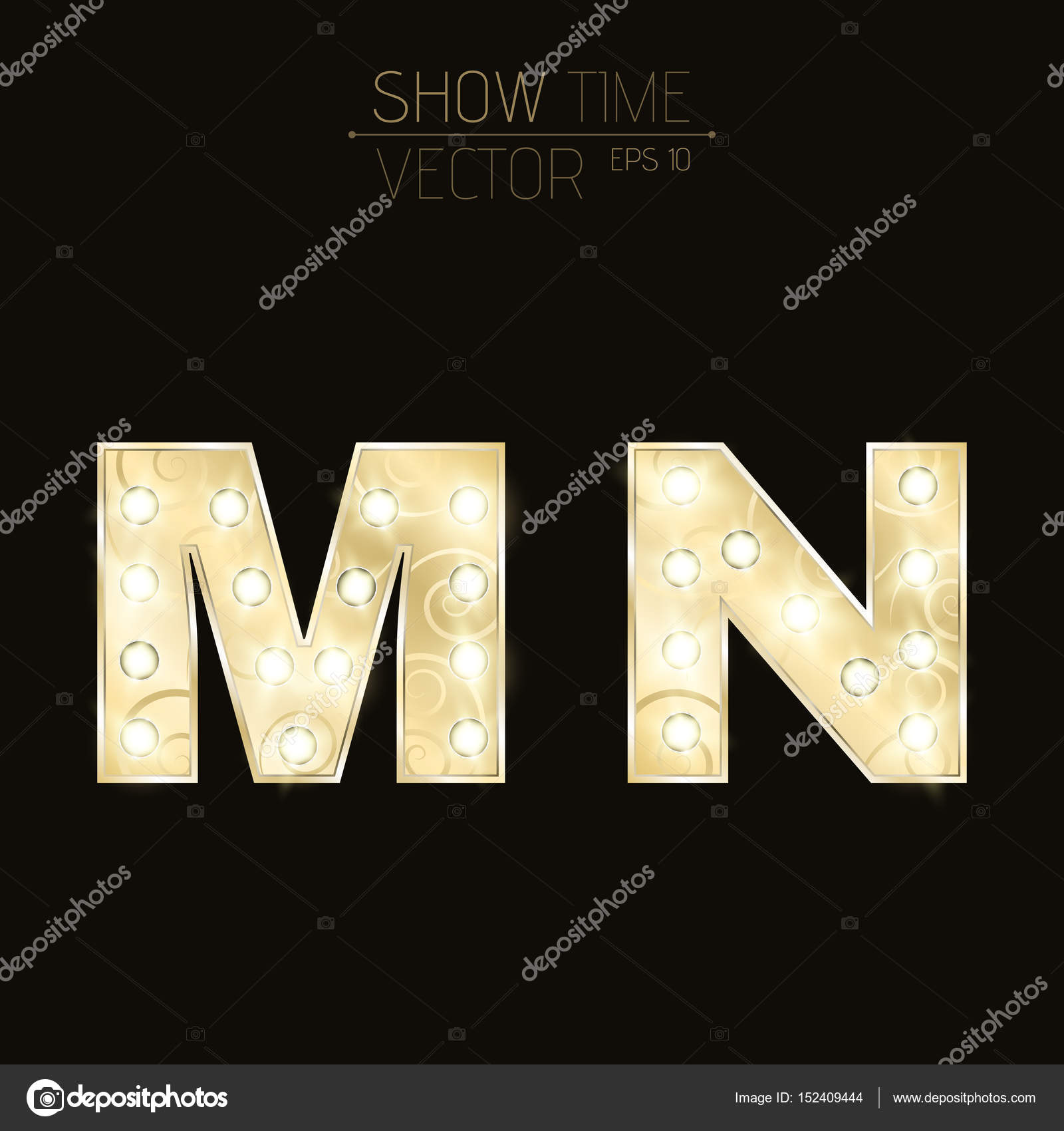 Gold Lit Letters Gold Letters M And N With Sparkling Light Bulbs And A Pattern
