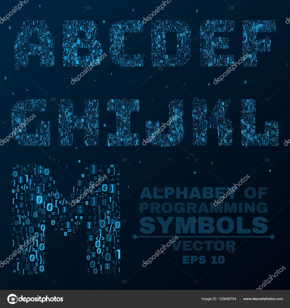 Alphabet from the symbols of the program code programming in alphabet from the symbols of the program code programming in design glowing letters are blue a b c d vector illustration vector by sersupervector buycottarizona Choice Image