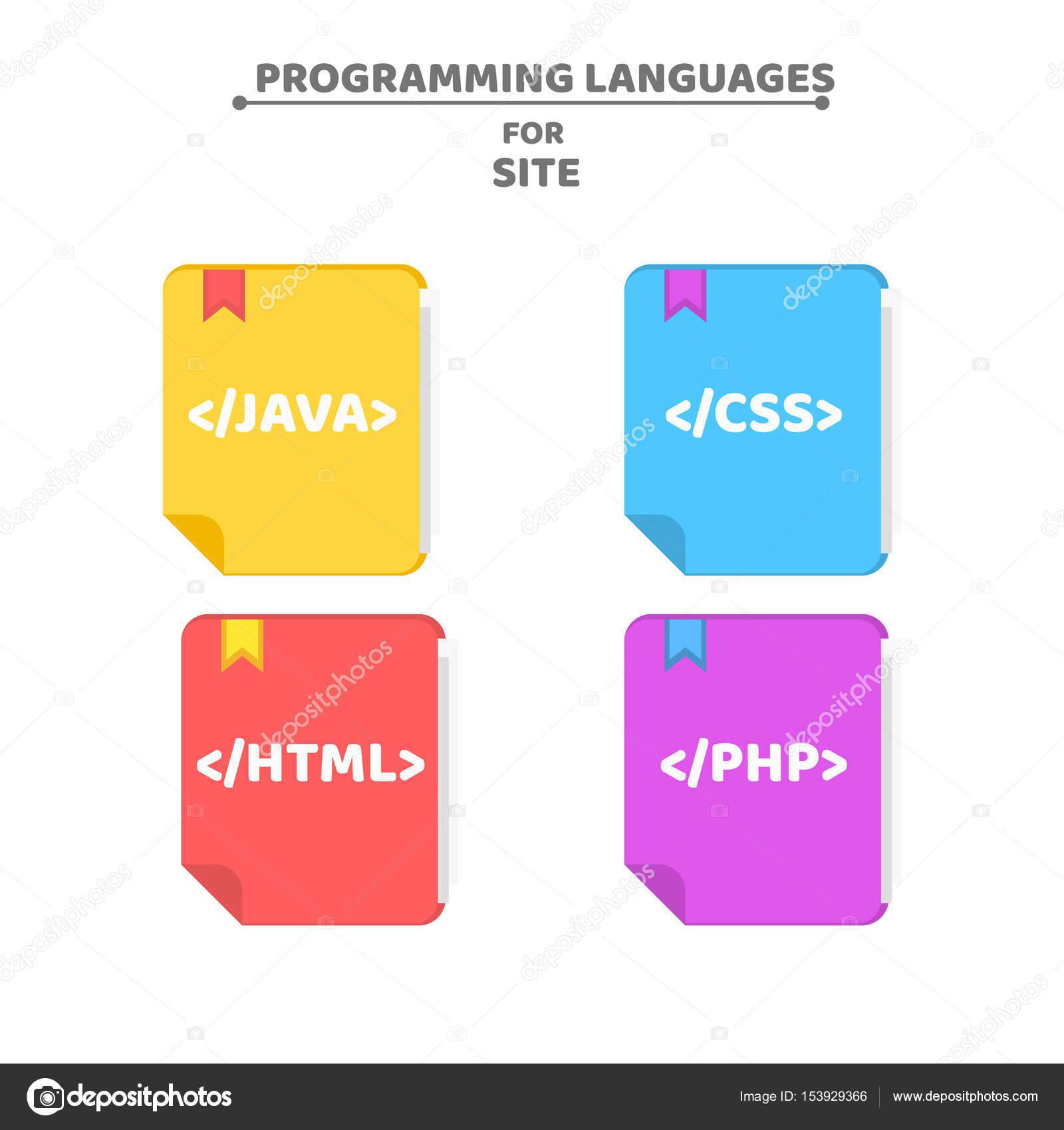 Ein Muster von Programmiersprachen. Bunte Bücher. Farbigen ...