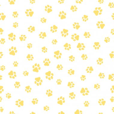 A pattern of canine tracks of different sizes. The dog tracks are yellow on a white background. Vector illustration in a flat style