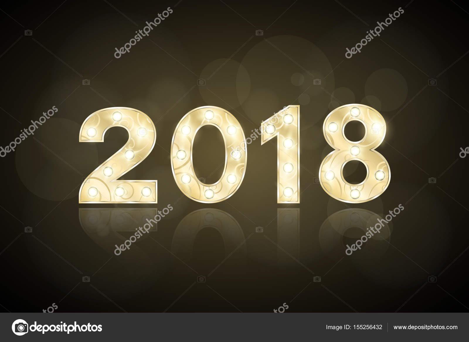 Frohes neues Jahr 2018 und Weihnachten. Jahr des Hundes. Gold Zahlen ...