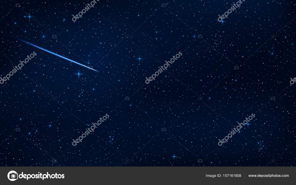 A Realistic Starry Sky With A Blue Glow Beautiful Shooting