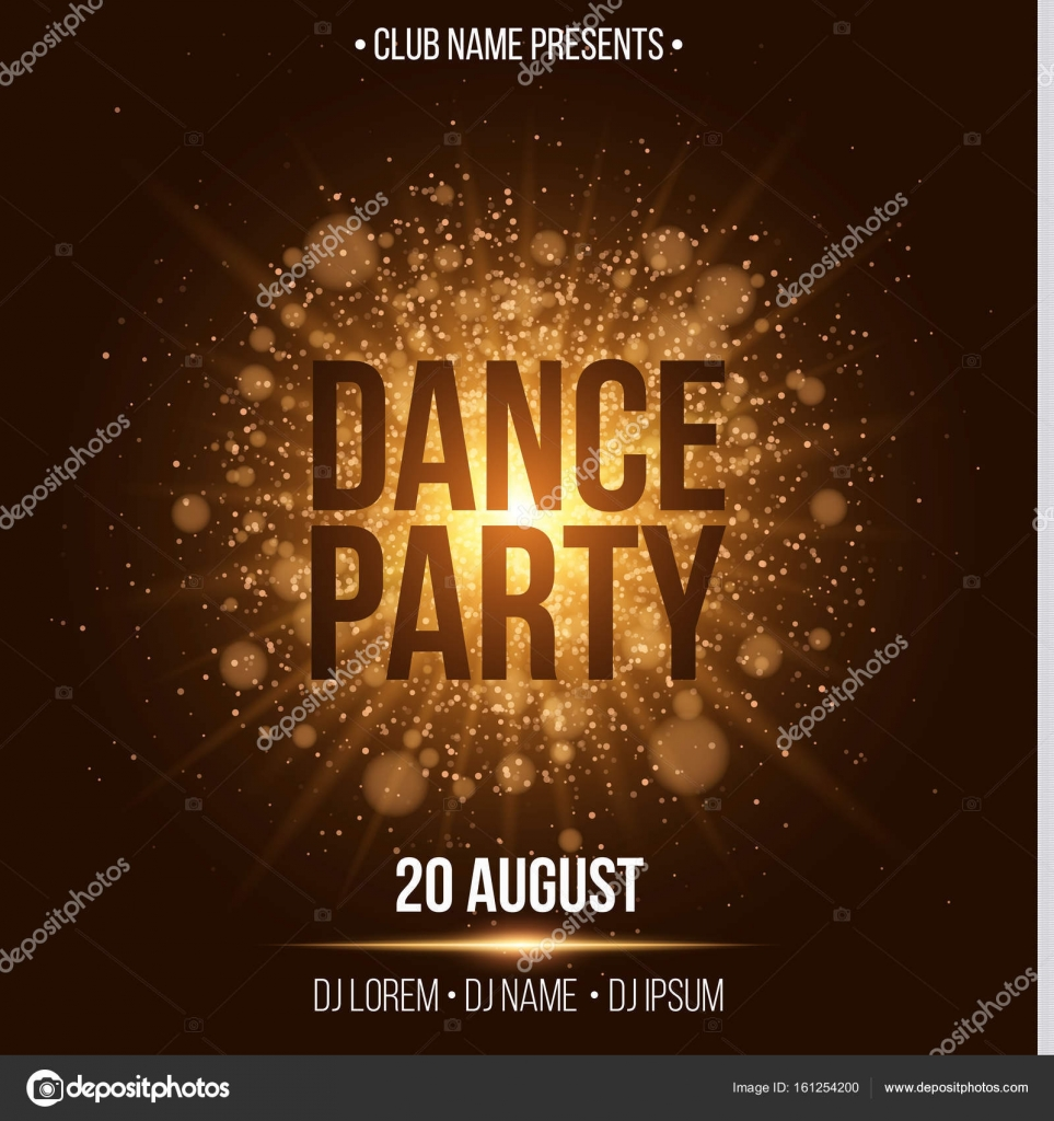 Dance party. Luxurious invitation card. Golden flash with gold ...