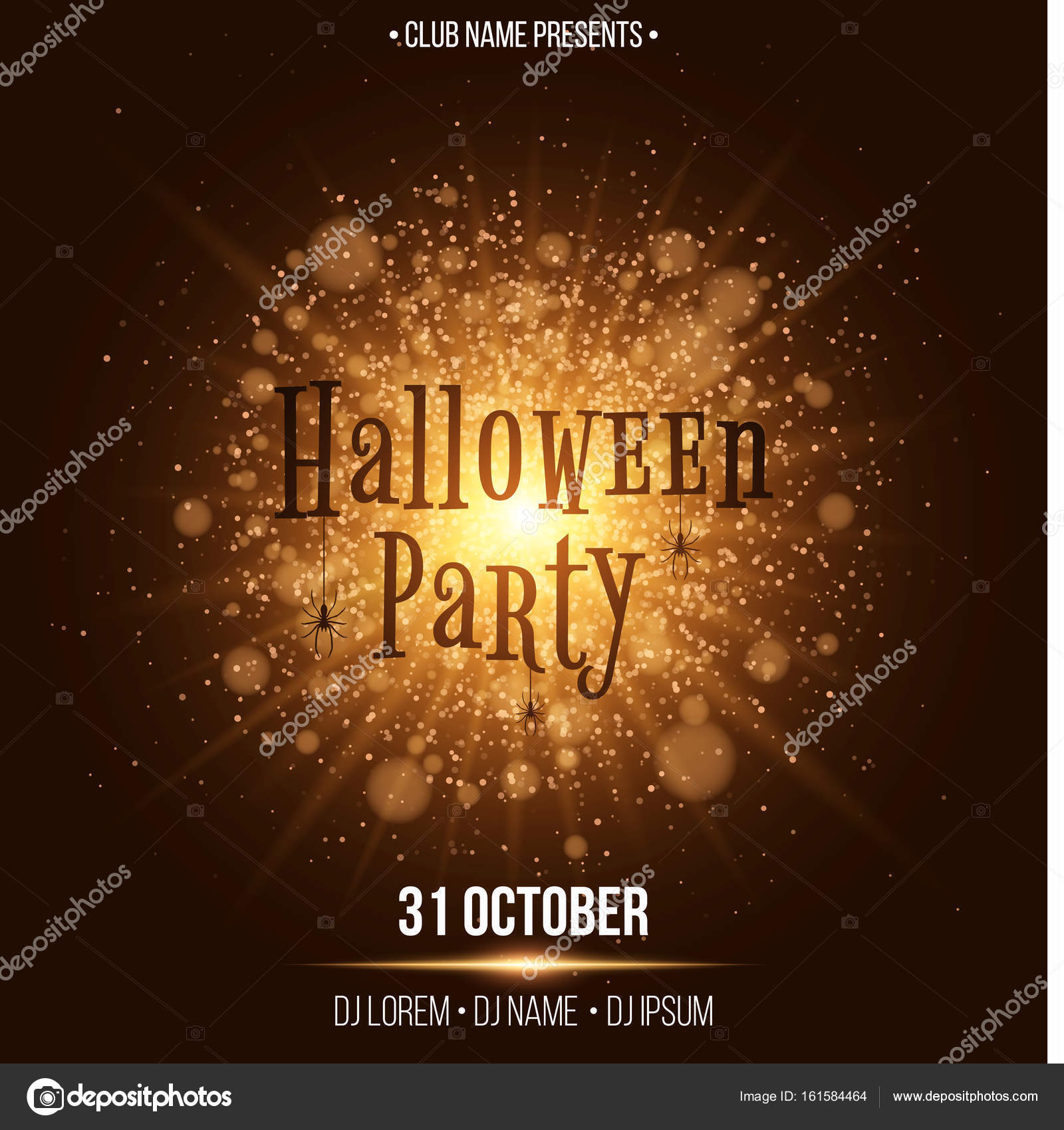 halloween party text in the style of horor abstract bright flash of light with golden lights black spiders names of the club and dj