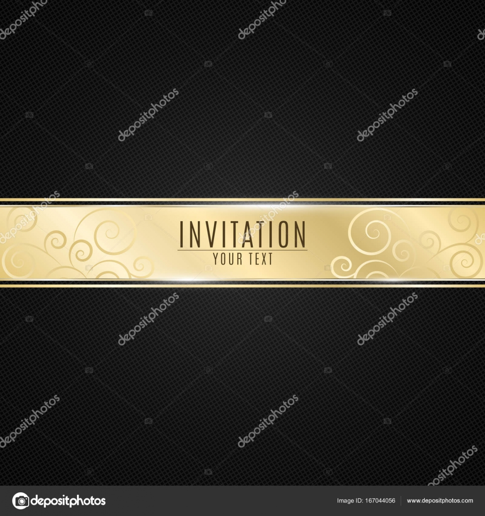 Luxurious invitation to the event golden ribbon banner on a black golden ribbon banner on a black background with a pattern of mesh realistic gold strip with an inscription vip invitation vector illustration vector by stopboris Choice Image