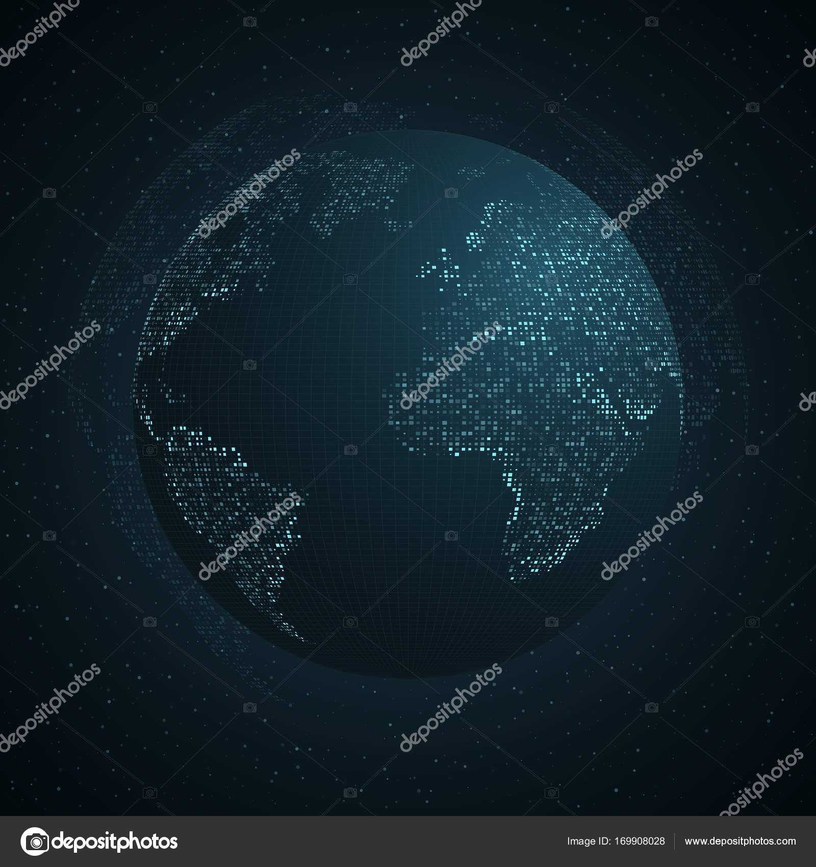 Abstract planet earth blue map of the earth from the square blue map of the earth from the square points dark background blue glow modern tech world map global network connection international meaning gumiabroncs Images