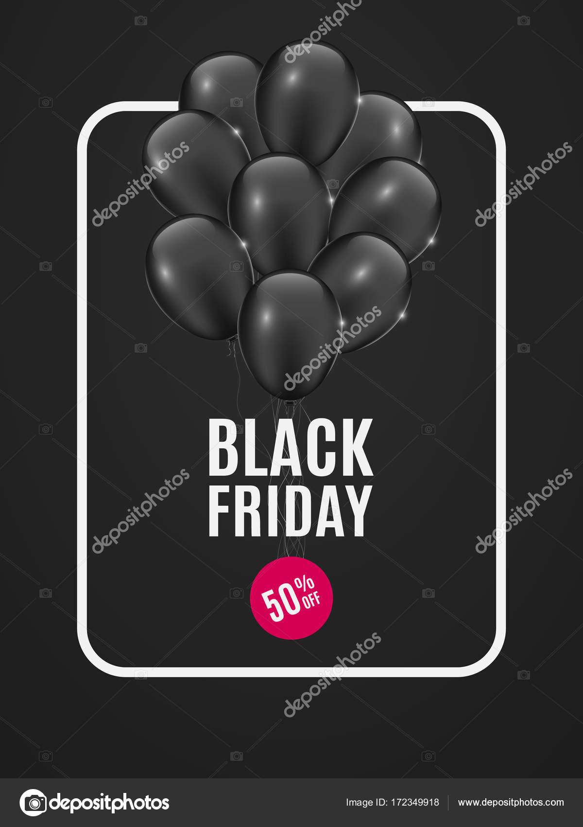 Banner con globos negros para el negro de la venta el viernes. Fondo ...