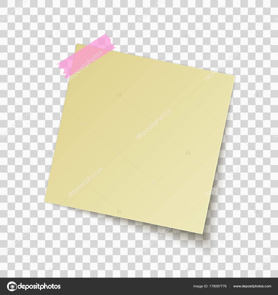 Nota adhesiva amarillo aislado sobre fondo transparente. Nota de la ...