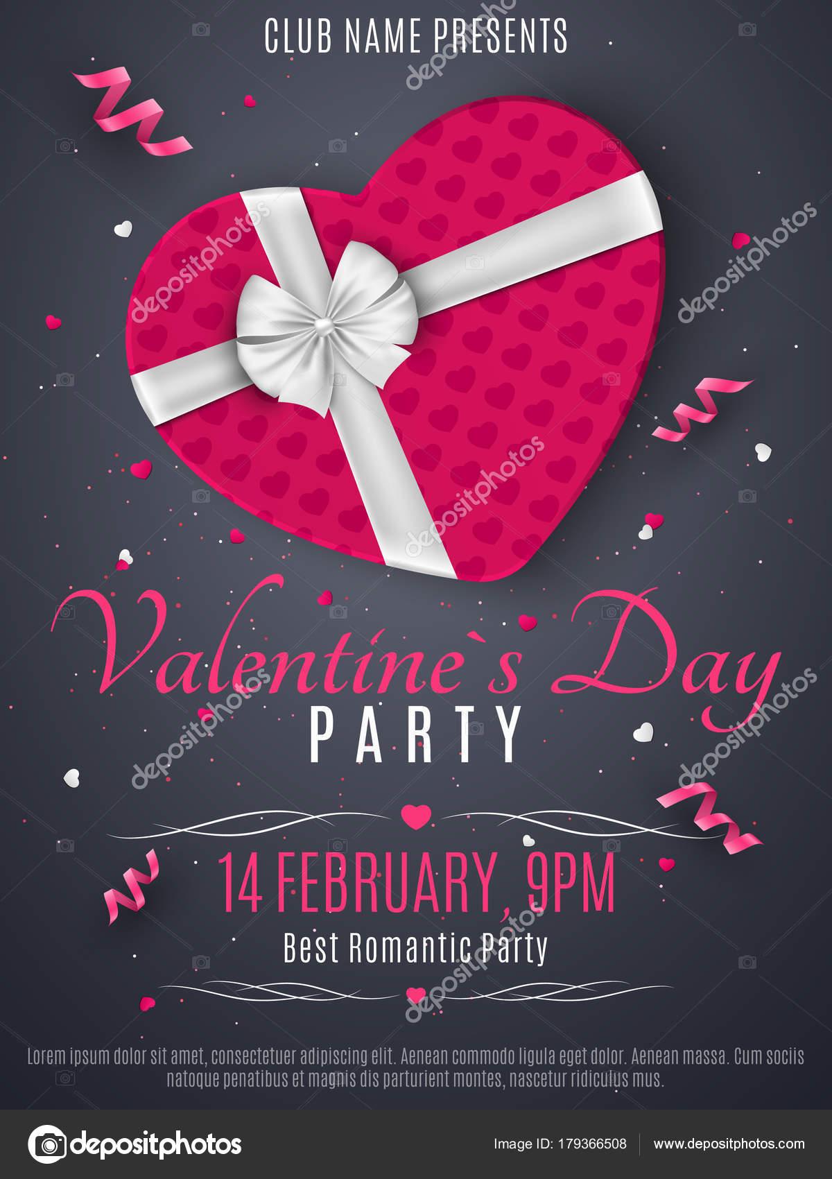 Valentinstag Party Flyer. Lila Box aus dem Herzen und ein weißes ...