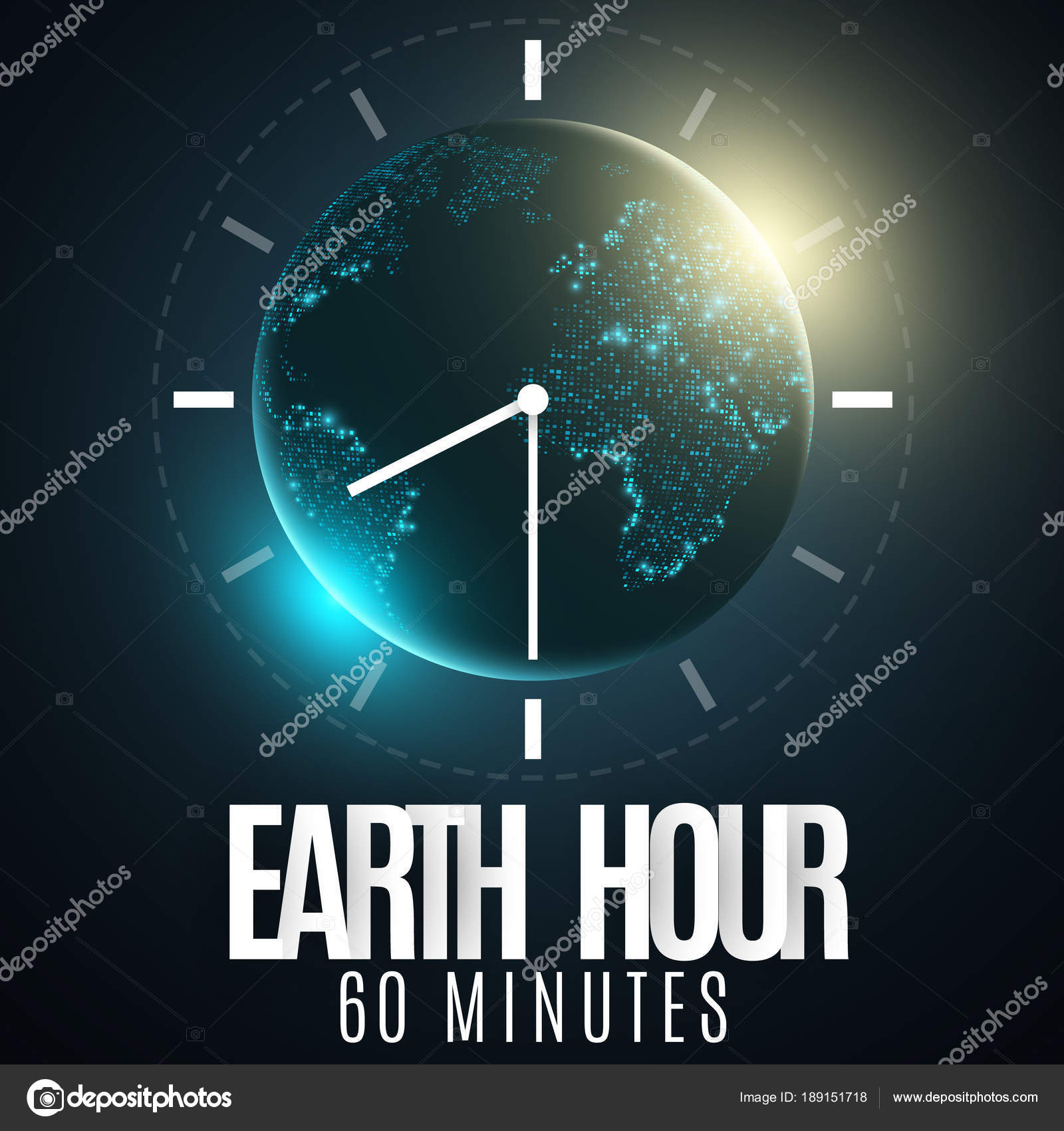 Earth hour futuristic planet earth 60 minutes without electricity 3d paper letters sunrise global holiday clock go abstract world map paper dial vector illustration eps 10 vector by sersupervector gumiabroncs Choice Image